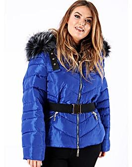 Lovedrobe Blue Belted Padded Coat