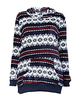 Izabel London Curve Fleece Hood Jumper