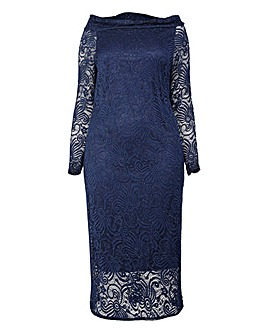 Izabel London Curve Bardot Lace Dress
