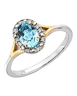 9ct Two Tone Gold Topaz & Diamond Ring