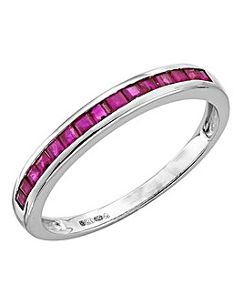 9 Carat White Gold Ruby Band Ring