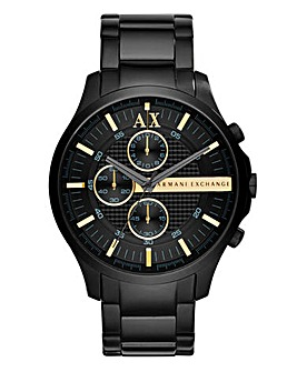 Armani Exchange Gents Hampton Black Chronograph Bracelet Watch