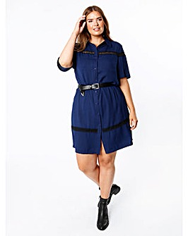Koko Blue Shirt Dress with Lace Inserts