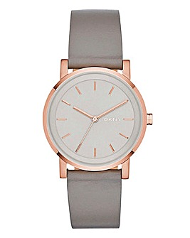 DKNY Ladies Soho Grey Leather Strap Watch