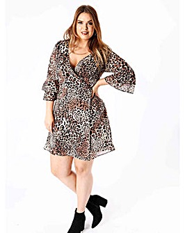 Koko Leopard Ruffle Sleeve Wrap Dress