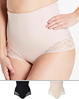 2 Pack Firm Control High Waist Lace Briefs Black/Blush