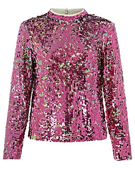 Monsoon Cecily Sequin Long Sleeve Top