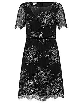 Monsoon Maisie Metallic Lace Shift Dress