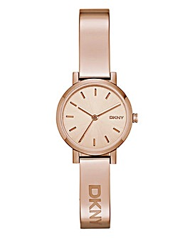 DKNY Ladies Soho Rose Tone Half Bangle Watch