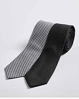 Pack 2 Black Houndstooth/Plain Ties