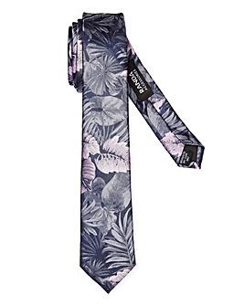 Navy/Silver Tropical Print Skinny Tie