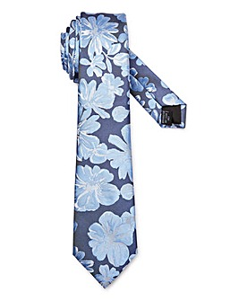 Blue Large Floral Print Tie