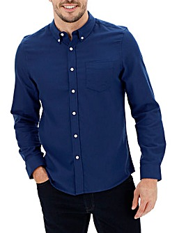 Navy Long Sleeve Brushed Flannel Shirt Regular