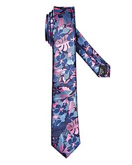Navy/Pink Floral Print Slim Tie