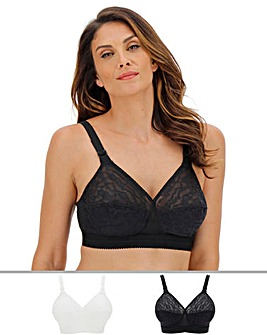 Playtex 2Pack Lace Non Wired Blk/Wht Bra