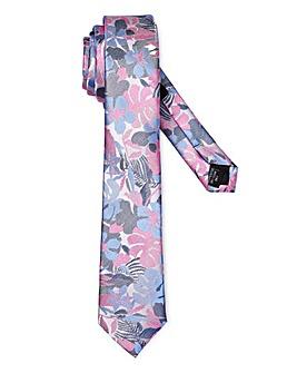 Pink/Blue Floral Print Slim Tie