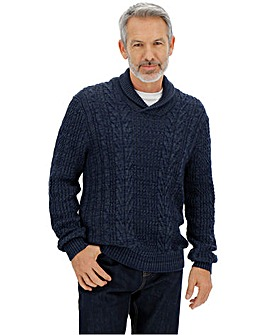 Navy Shawl Neck Cable Jumper