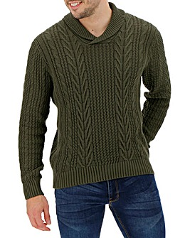 Olive Green Shawl Neck Cable Jumper
