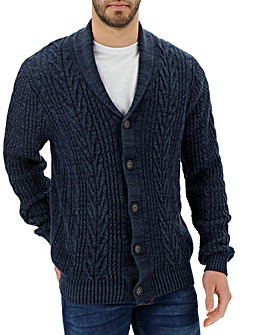 Navy Cable Button Cardigan
