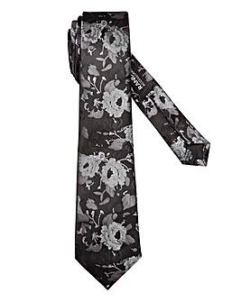 Black/Silver Monochrome Floral Tie