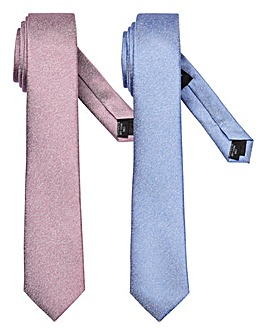Pink/Blue Pack of 2 Slim Textured Ties