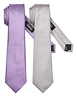 Grey/Lilac Pack of 2 Ties