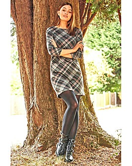 Roman Check Pocket Shift Dress