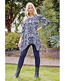 Roman Animal Print Longline Puff Sleeve Tunic
