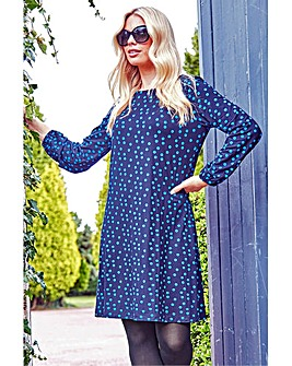 Roman Long Sleeve Spot Print Shift Dress