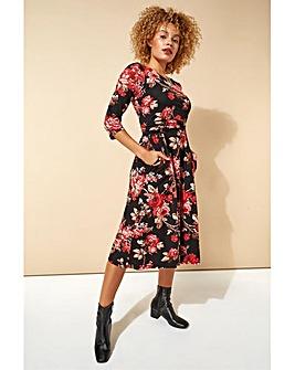Roman Floral Print Pocket Detail Midi Dress