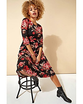 Roman Floral Print Pocket Detail Midi Dress