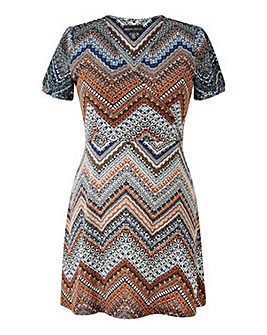 Mela London Curve Aztec Skater Dress
