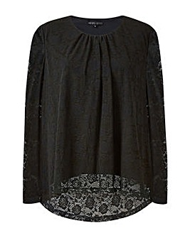 Mela London Curve Lace Long Sleeve Top
