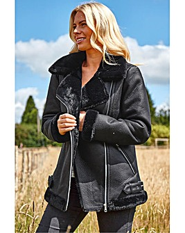 Roman Faux Fur Lined Zip Detail Aviator Jacket