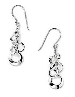 Sterling Silver Open Disc Cluster Drop Earrings