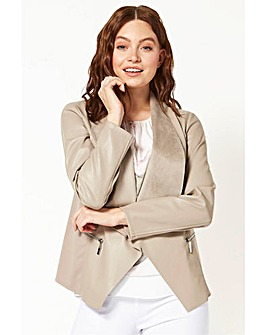 Roman Faux Leather Suedette Waterfall Jacket