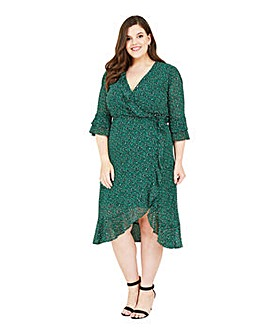 Yumi Curves Animal Wrap Midi Dress