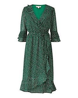 Yumi Curves Animal Wrap Midi Dress