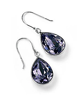 Sterling Silver Teardrop Shape Tanzanite Colour Swarovski Crystal Drop Earrings