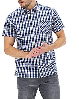 Navy Check Short Sleeve Shirt Long