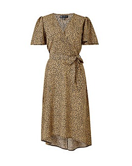 Mela London Curve Leopard Asymmetric Wrap Dress