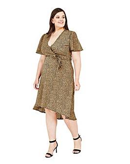 Mela London Curve Leopard Asymmetric Wrap Dress