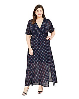 Yumi Curves Spotted Maxi Dress