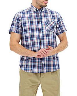 Navy/Blue Check Short Sleeve Oxford Shirt