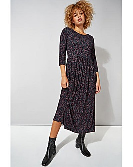 Roman Ditsy Print 3/4 Sleeve Midi Dress