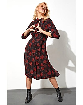 Roman Heart Print Keyhole Neck Midi Dress