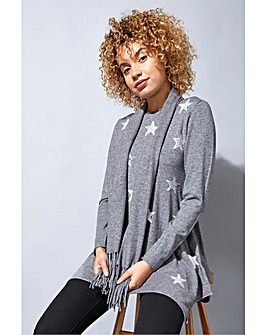 Roman Star Print Knitted Tunic with Tassel Scarf