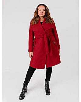 Lovedrobe Wool Blend Red Wrap Coat