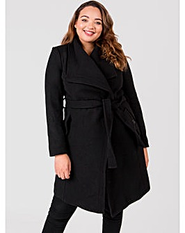 Lovedrobe Wool Blend Black Wrap Coat