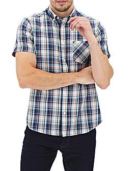 Navy/Orange Check Short Sleeve Oxford Shirt